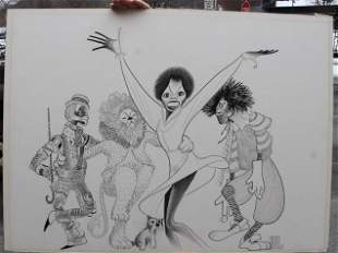 """Al Hirschfeld Crow Quill pen and ink drawing """"The Wiz"""""""