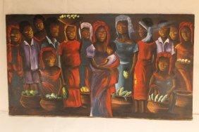 Haitian Oil On Canvas Dated 1968