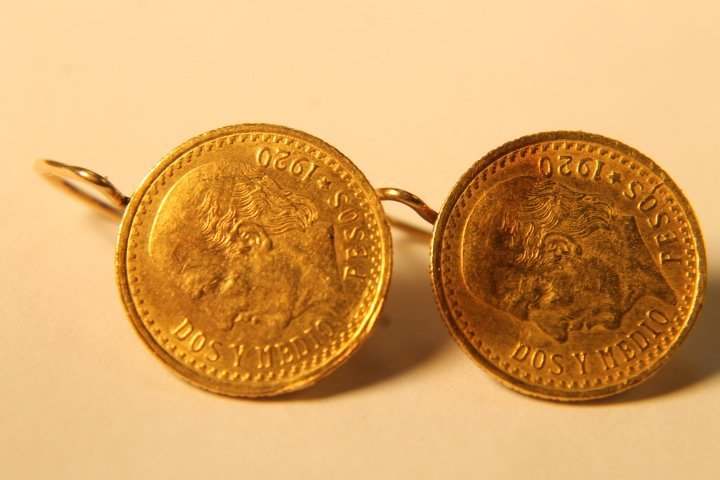 Pr. Mexican Gold Coin Earrings