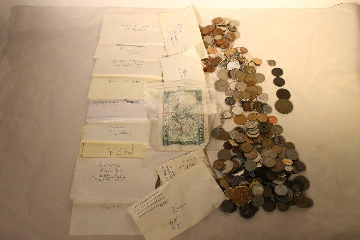 Box Lot of Coins & Paper Money