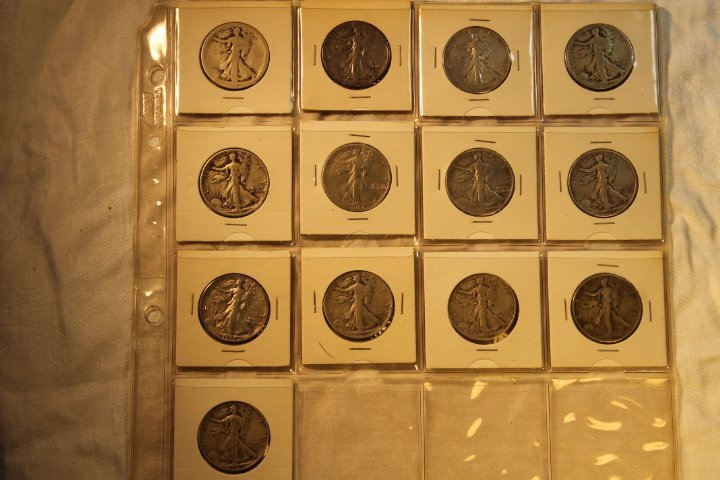 13 US Liberty Silver Half Dollars