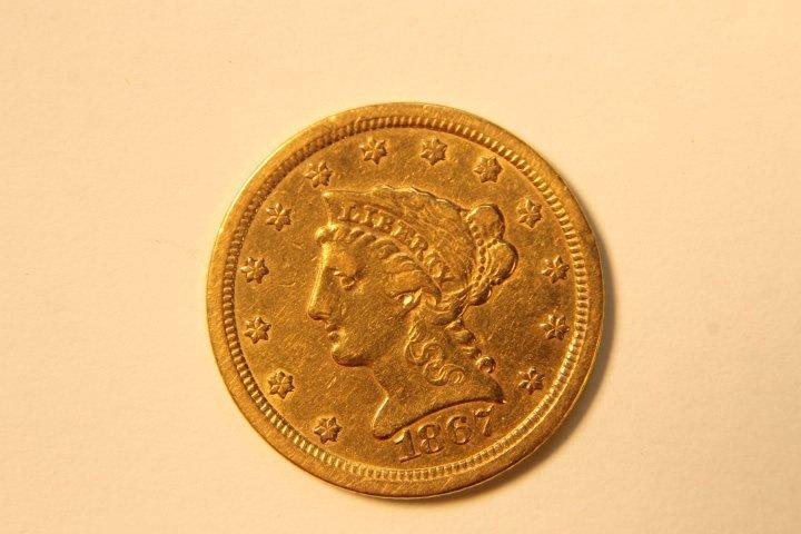 2 1/2 Dollar US Gold Coin, Corronet Head