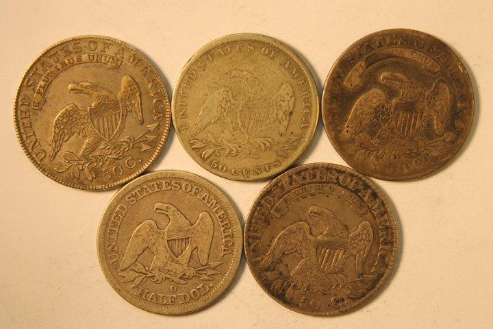 5 Silver US Half Dollars - 2