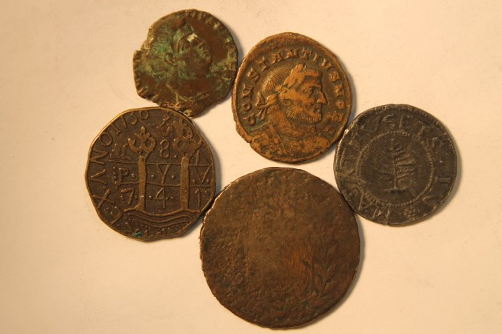 5 Misc Coins, Tokens Of Unknown Origin