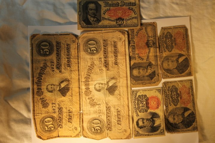 2-50 Dollar Confederate & Fractional Bank Currency