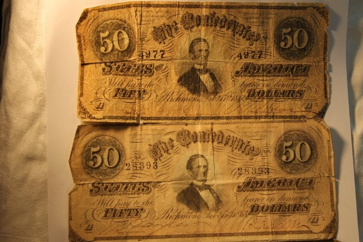 2-50 Dollar Confederate & Fractional Bank Currency - 2