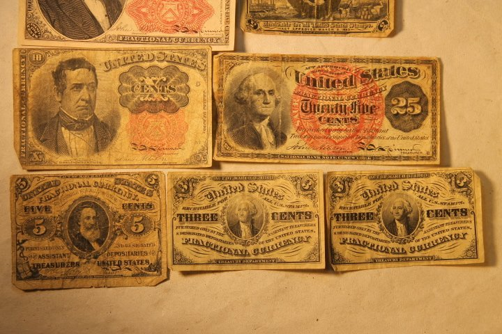 US Fractional Currency, 9 pcs - 3