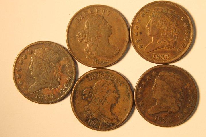 5 Pcs Copper Half Cents