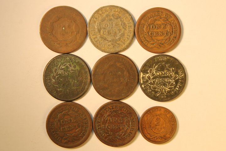 9 Pcs, Copper Cents - 4