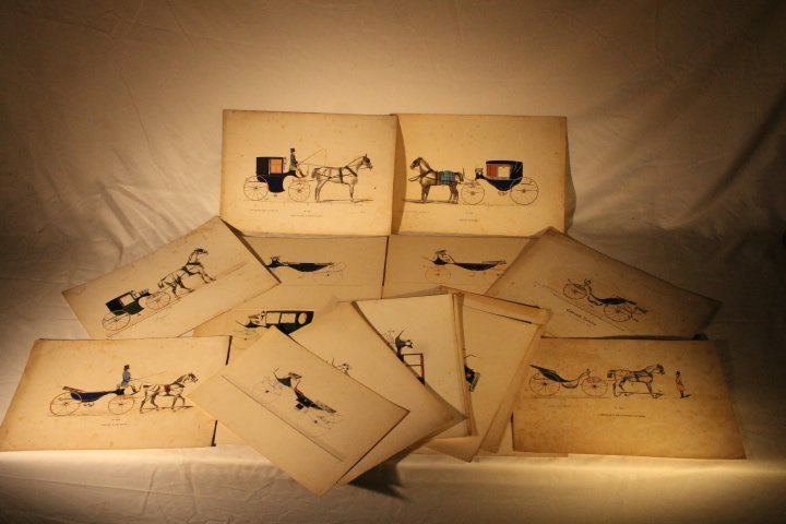 22 French Carriage Colored Lithos