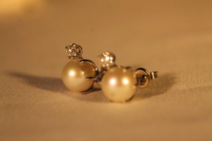 14kt Gold, Pearl, & Diamond Earrings
