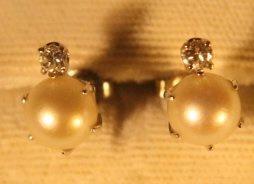 14kt Gold, Pearl, & Diamond Earrings - 2