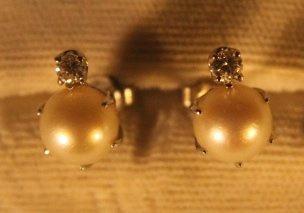 14kt Gold, Pearl, & Diamond Earrings - 3