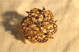 Victorian Diamond & Seed Pearl , Pendant/Brooch