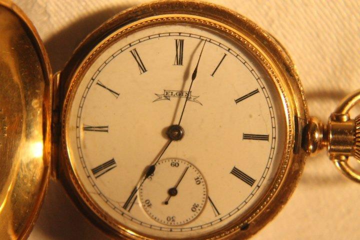 Elgin 14kt Gold Dueber Case w/Diamond - 4