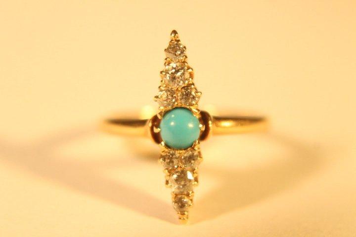 14 kt Gold, Diamond &Turquoise Ring