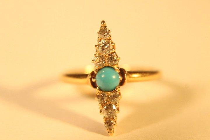 14 kt Gold, Diamond &Turquoise Ring - 2
