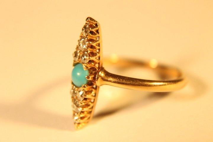14 kt Gold, Diamond &Turquoise Ring - 3