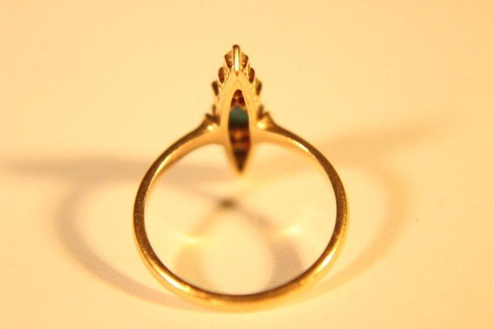 14 kt Gold, Diamond &Turquoise Ring - 4