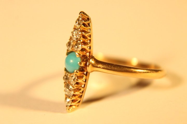 14 kt Gold, Diamond &Turquoise Ring - 5