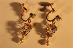 10 Kt Gold, Diamond & Pearl Earrings