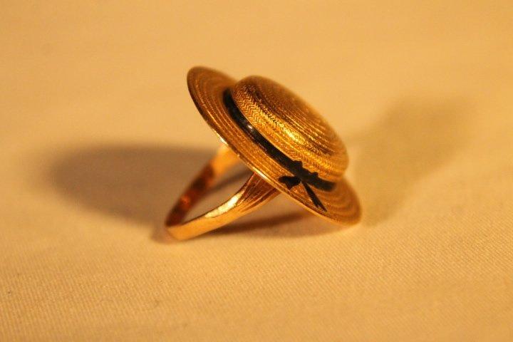 15kt Gold Hat Ring, Original Homers Box