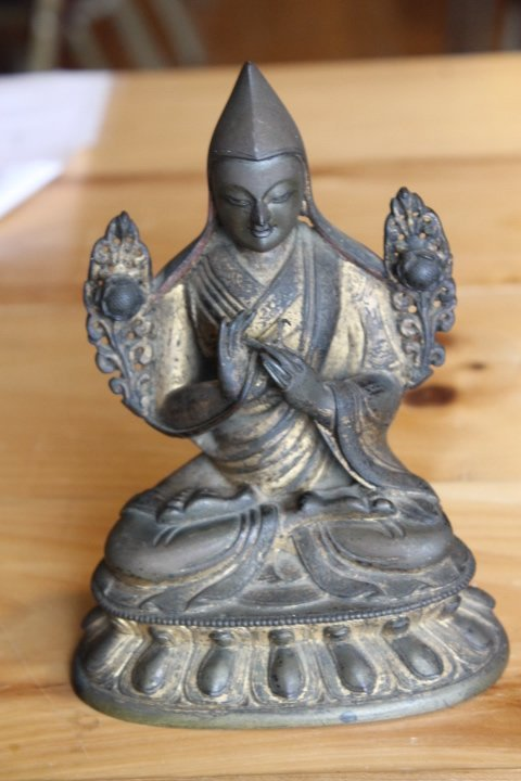 Buddha Figure, Bronze w/Gilt - 10