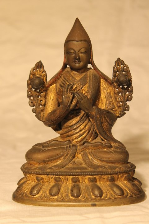 Buddha Figure, Bronze w/Gilt - 8