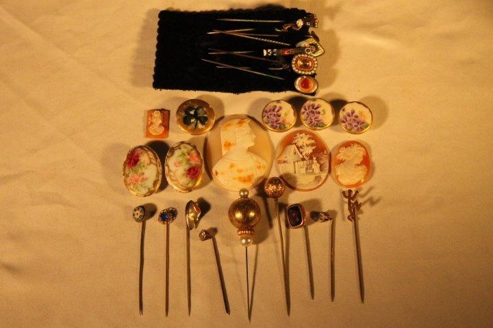 17 Hat Pins, Velvet Box, Cameos, Porcelain Buttons