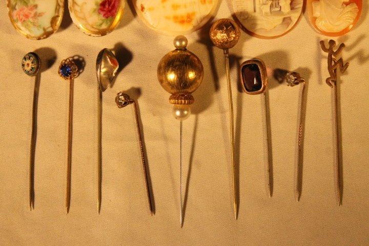 17 Hat Pins, Velvet Box, Cameos, Porcelain Buttons - 2