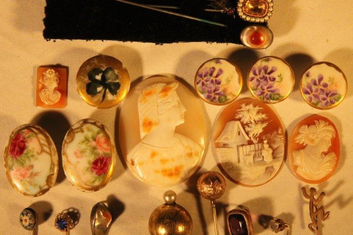 17 Hat Pins, Velvet Box, Cameos, Porcelain Buttons - 3