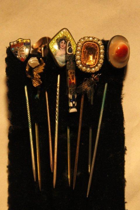 17 Hat Pins, Velvet Box, Cameos, Porcelain Buttons - 4