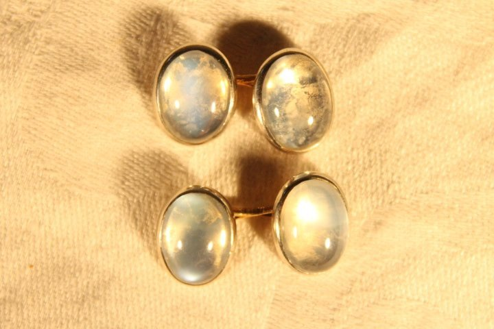 14kt Gold Cufflinks w/Clear Stone