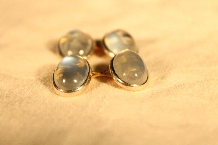 14kt Gold Cufflinks w/Clear Stone - 2
