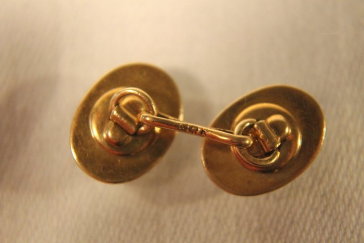14kt Gold Cufflinks w/Clear Stone - 4