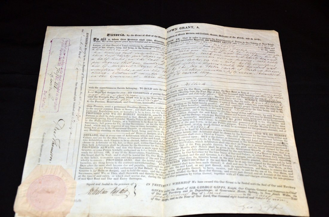 255: Land Grant   Darling Harbour Sydney Signed by Gove