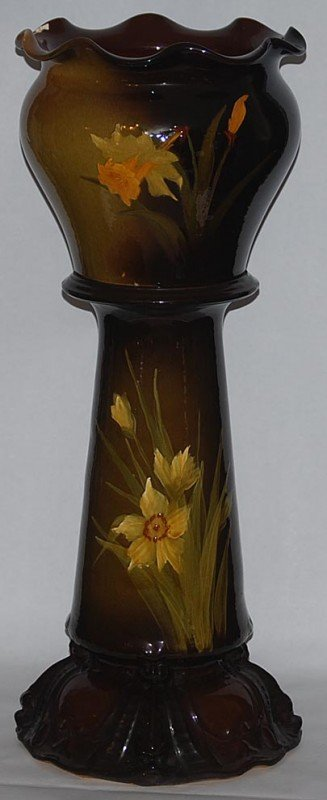 1: Weller Louwelsa Pottery Daffodil Jardiniere and Pede