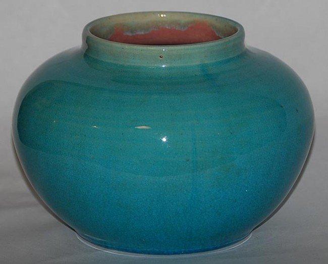 17: Pisgah Pottery Turquoise Squat Vase