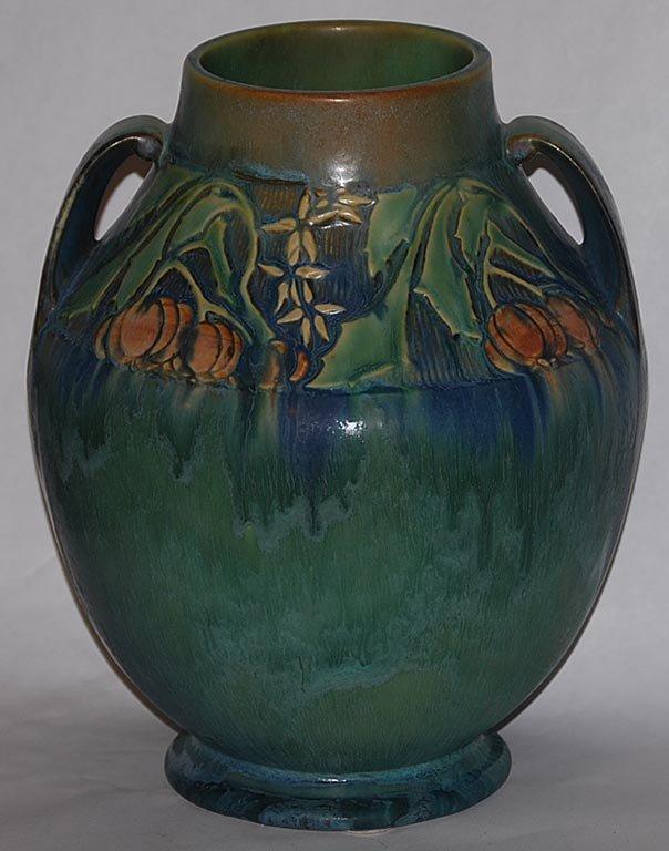 23: Roseville Pottery Baneda Green Vase 597-10