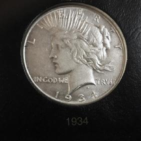 1934 Peace Silver Dollar