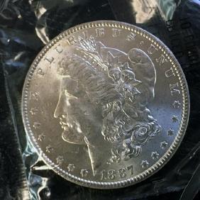1887 Morgan Silver Dollar, Uncirculated