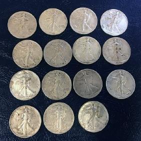 15 Walking Liberty Silver Half Dollars