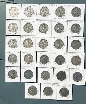 27 Silver Half Dollars