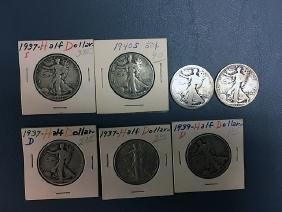 7 Walking Liberty Silver Half Dollars