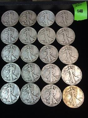 20 Walking Liberty Silver Half Dollars