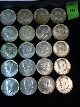 20 John F. Kennedy Silver Half Dollars, 1964