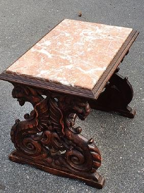 Karpen Griffin Carved Marble Top Coffee Table