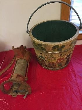 Country Bucket and Vintage Pump