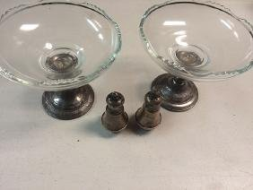 2 Sterling Silver Candy Dishes, Salt and Pepper