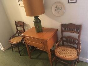 Vintage Chairs, Sewing Table, Lamp